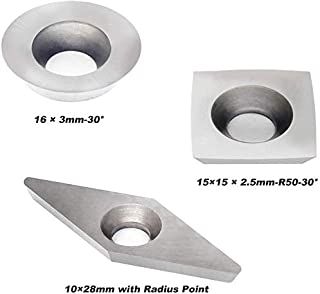 YUFUTOL 3pcs Tungsten Carbide Cutters Inserts Set Combination Set for Wood Lathe Turning Tools (Include Square With Radius,Round and Diamond Shaped Cutters) Supplied with 3pcs Screws