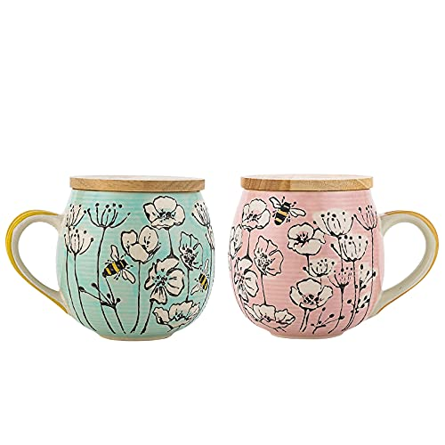 Taimei Teatime Coffee Mug, 16.9 fl.oz Large Tea Cup with Lid, British Rural Style Floral Bee Coffee Mugs Set of 2 Birthday Gifts for Women
