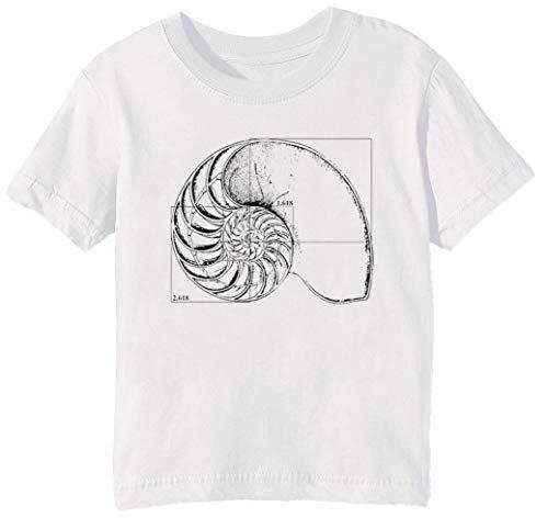 Erido Fibonacci sur Une Nautile Coquille Enfants Unisexe Garçon Filles T-Shirt Cou D'équipage Blanc Coton Manches Courtes Taille 2XS Kids Boys Girls T-Shirt XX-Small Size 2XS