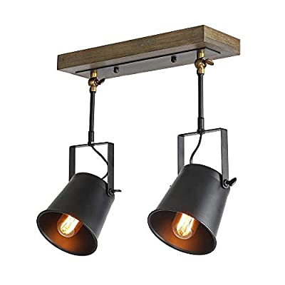 LNC Adjustable Track Lighting Industrial Wood Canopy 3-Head, for for Ceiling and Wall, A03185 (Renewed)