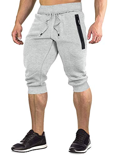 FASKUNOIE Men's Capri Joggers 3/4 Sweat Shorts for Men Cotton Summer Shorts with Pockes