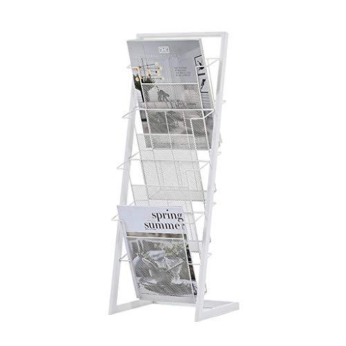 LQH Estante Estantes Magazine Rack Periódico de revistas Perchero de pie Estantería de Hierro Forjado Estante de exhibición de multifunciones Ra (Color : B)