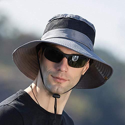Relang Männer Sonnenhut Fischerhut Breite Krempe Hut UV-Schutzkappe Angeln Wandern Outdoor Camping Camping Hut Große Krempe Sonnenhut (Grau)