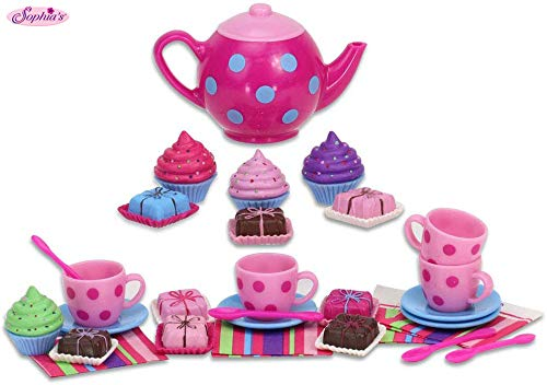 Sophia's Doll Playsets Sized Tea Set, Cupcakes, Petit Fours, Tea Pot and More   18 Inch Doll Tea Party and Treats Set Perfect for American Dolls & More!