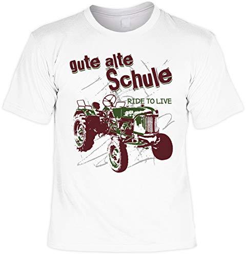 Traktor Motiv Shirt. Oldtimer Traktoren Fan Shirt : Gute alte Schule - Trekker, Bulldog, Landwirt Shirt Gr: 5XL