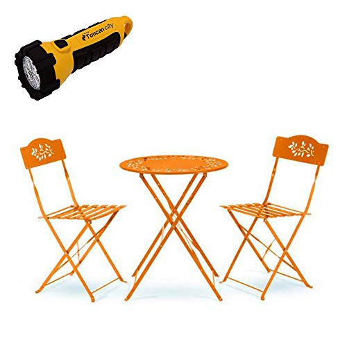 Toucan City LED Flashlight and Alpine Corporation Indoor/Outdoor 3-Piece Bistro Set Folding Table and Chairs Patio Seating, Orange MSY100A-OR