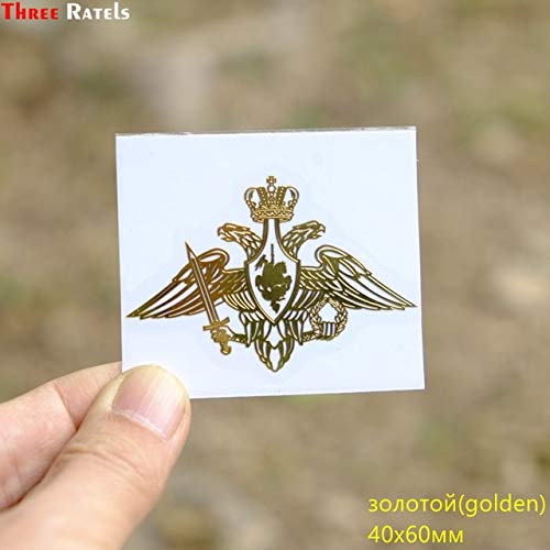 FAFPAY Autoaufkleber MT-029# 54 * 80mm Marine Russische Föderation Russland Zwei Köpfe Adler Metall Gold Nickel Auto...