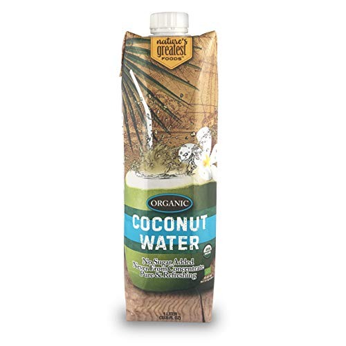 Nature's Greatest Foods, Organic Coconut Water, USDA Organic Certified, No Sugar Added, Never from Concentrate, Pure & Refreshing, 33.8 fl oz (Pack of 6)
