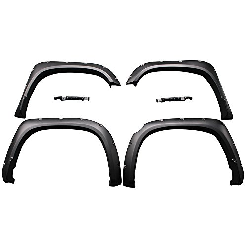 Fender Flare Compatible With 2014-2020 Toyota Tundra, Pocket Rivet Style Fender Flares 4PC - PP by IKON MOTORSPORTS, 2015 2016 2017 2018 2019