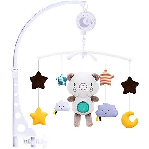 SaiXuan Baby Mobile per culle con Musica,Mobile Giostrina Culla Neonato,Bear Music Box Mobile con Musica Rilassante, Sonagli sospesi
