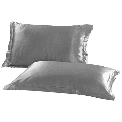 Royaliya - Juego de 2 fundas de almohada (seda satinada, tamaño estándar, 54 x 84 cm), color negro, seda sintética raso, Gris, 54 cm × 84 cm