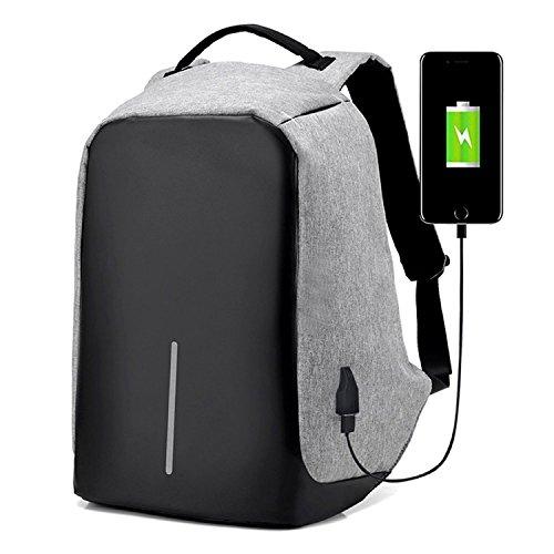 Mochila para notebook Anti Furto Roubo impermeável saída Usb tablet Laptop escolar Cinza