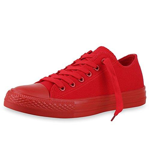 SCARPE VITA Damen Sneakers Trendfarben Sportschuhe Schnürer Stoffschuhe 134803 Rot Total 37