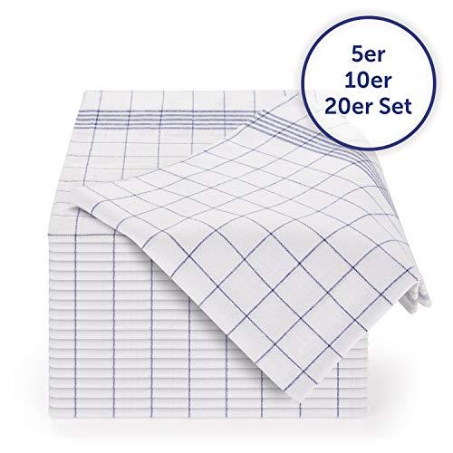Blumtal 10er Set Premium Geschirrtücher - Hochwertige Geschirrhandtücher, 100% Baumwolle, blau kariert, 50x70cm