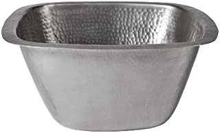 The Copper Factory CF155SN Solid Hand Hammered Copper 13-Inch by 13-Inch Medium Square Bar/Prep Sink, Satin Nickel