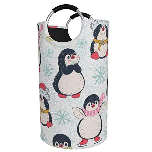 Canasta de lavandería redonda, Penguins Sing, canasta de lavandería, cubeta, bolsa de ropa plegable, contenedores de 82 L para habitación de niños, organizador de juguetes, clasificador de cubos de la