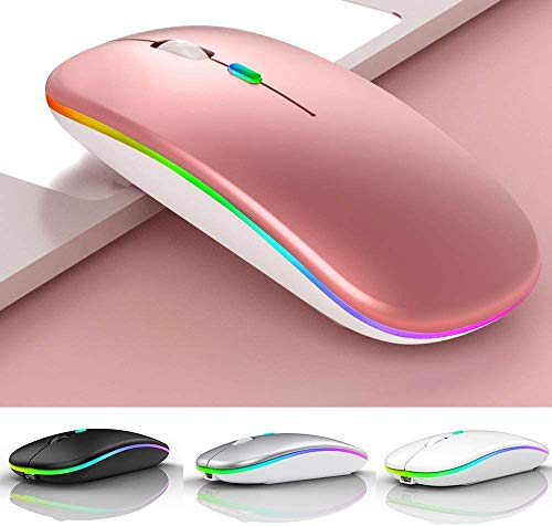 LED Wireless Bluetooth Mouse,Wireless Mouse for MacBook Air/MacBook Pro/Mac/Laptop/MacBook/iPad Bluetooth Mouse for MacBook Air/Pro/Mac/ipad/ipad pro/OS 13 and Above(Rose Gold)
