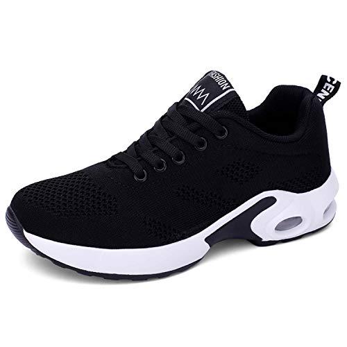 Lanivic - Zapatillas de deporte para mujer, transpirables, zapatillas de tenis, para correr, color Negro, talla 35 EU Schmal