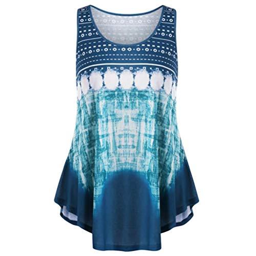 Zegeey Damen Top Oberteil ÄRmelloses Rundhals Drucken Sommer T-Shirt TräGershirt Bluse Weste Pullover LäSsige Lose (Blau,36 DE/M CN)