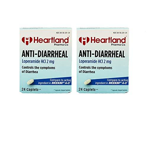 Heartland Pharma Co Anti-Diarrheal Pills (Loperamide 2 mg/Blister Packed Capsules - 24 Count) (Pack of 2)