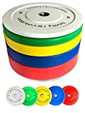 """Body Revolution Rubber Bumper Weight Plates Coloured Olympic 2"""" Discs for Barbells & Crossfit (1.25kg - 25kg) (5kg pair)"""