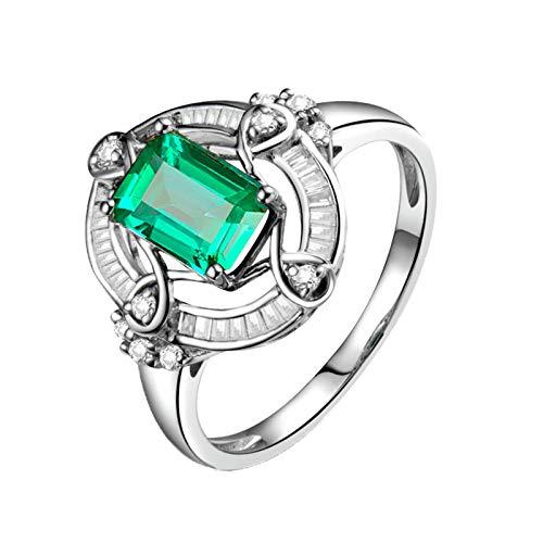 Daesar Anillos Oro Blanco 18K Mujer,Rectángulo Esmeralda Verde 1.02ct Diamante 0.4ct,Plata Verde Talla 15