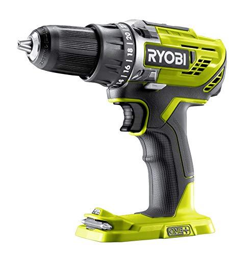 Ryobi Akku-Bohrschrauber 2-Gang, Bohrfutter 13 mm, LED-Beleuchtung, ohne Akku und Ladegerät – R18DD3-0