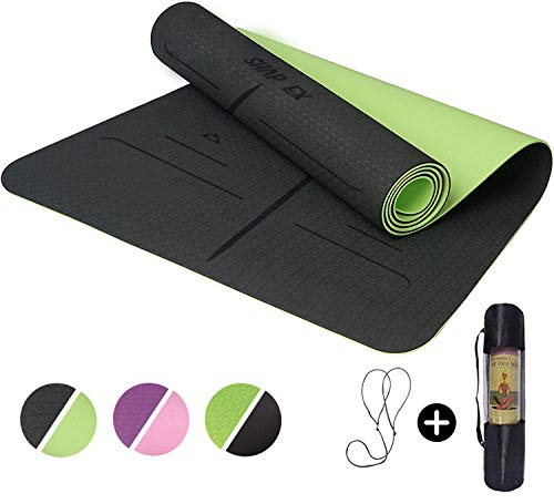 """ShapEx Large Yoga Mat (72""""x26.5""""Inch) Thick Yoga Mat ¼ Inch Thickness Non Slip,Anti-Tear,Sweat-Proof,Eco Friendly Exercise Mat with Alignment Marks&Carrying Strap,Perfect for Yoga,Pilates and Fitness from SHAPEX"""