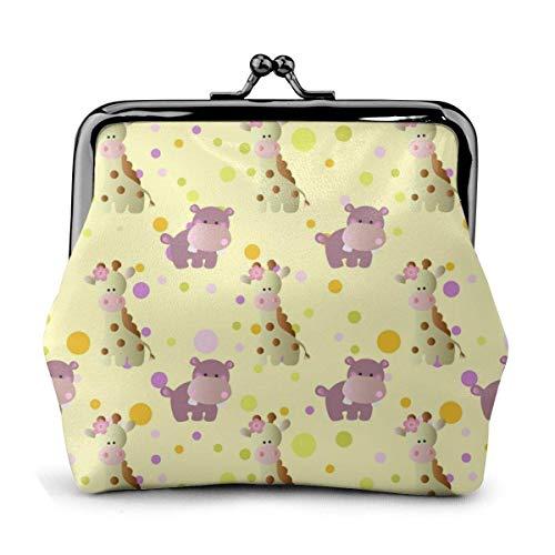 Lindo bebé jirafa cuero hebilla monedero lindo cambio bolsa cartera