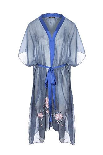 Jayley Silk Blend Borduurwerk Kimono Navy