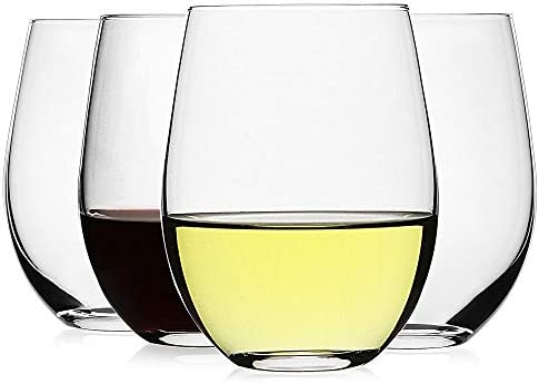 LUXU Stemless Wine Glasses Set of 4 20 oz Clear Wine Cups for Red or White Wine Crystal Whiskey product image