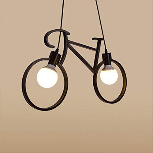 CHHD Candelabro Industrial Retro Negro Forma de Bicicleta Hierro Forjado Acabados de Dolor Doble Cabeza E27 Lámpara de Techo Colgante para Sala de Estar Dormitorio Comedor