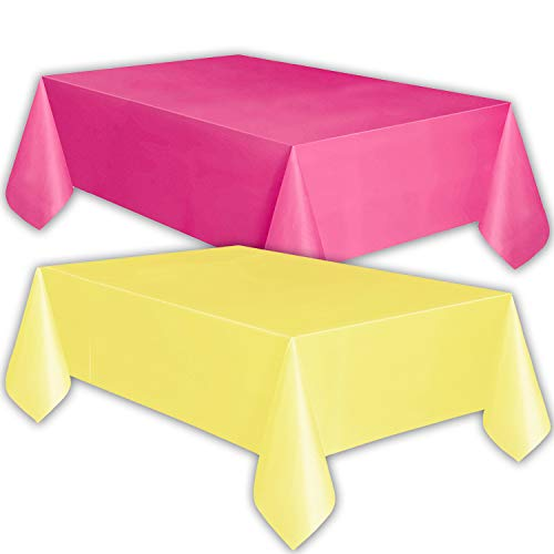 8 Plastic Tablecloths - Hot Pink and Lemon yellow - Premium Thickness Disposable Table Cover, 108 x 54 Inch, 4 Each Color