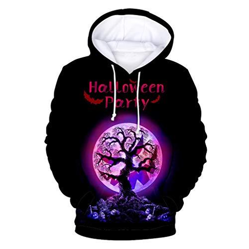 Benbzh Helloween trui met capuchon, lange mouwen, heren-sweatshirt, met capuchon, modieus, casual, voor herfst en winter, XXL, Blanco Y Gris