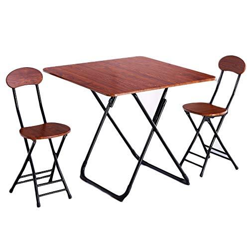 Inklapbare tafel, Huishoudelijke eettafel, Kleine eettafel, Kleine eettafel, 2-4 personen beschikbaar, Eenvoudige Vierkante Tafel (met 2 stoelen)