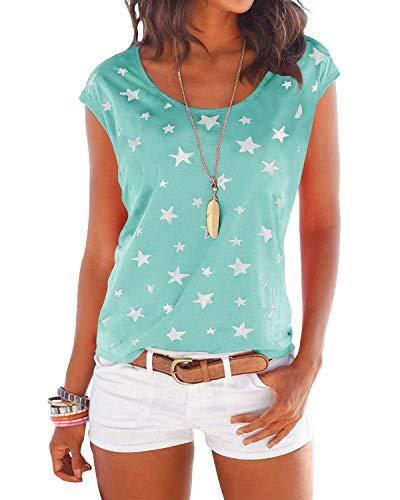YOINS Camiseta para Mujer Manga Larga Elegante Blusa Suelta de Cuello Redondo Camisa con Estampado Camisetas Básica Informal T-Shirt Verde Claro M