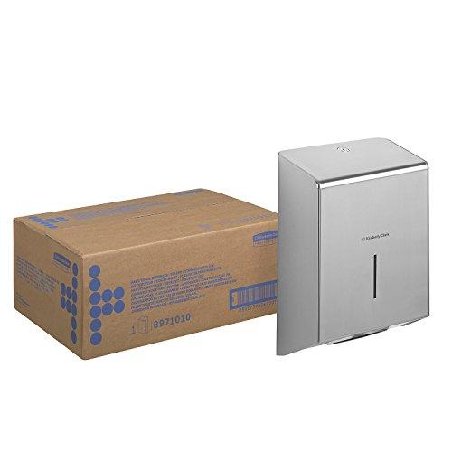 Kimberly-Clark 08971010 8971 Dispensador de Toallas de Manos Plegadas Desechables, Montaje en Pared, Distribución Hoja por Hoja, Diseño y Lujo, Acero Inoxidable