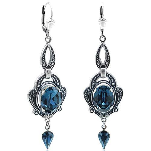 Jugendstil Ohrringe Blau Silber mit Kristallen von Swarovski® NOBEL SCHMUCK