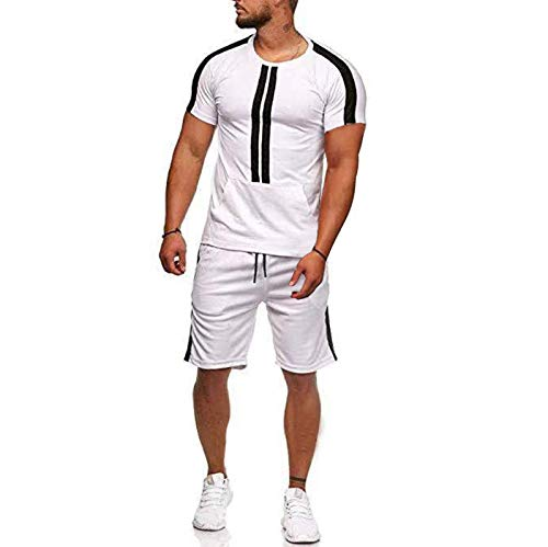 Raylans Men's Summer Short Sleeve T-Shirts & Shorts 2 Pieces Tracksuit Casual Sports Sets Sportswear