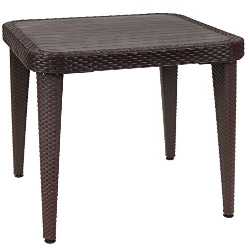 Sunnydaze All-Weather Square Patio Dining Table with Faux Wood Grain Top - Wenge - Plastic Indoor/Outdoor Table with Faux Wicker Design - Perfect for Porch, Deck or Dining Room - 35.25 Inches Square