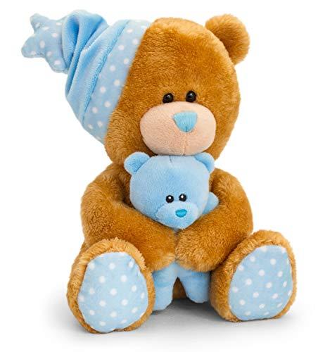 Lashuma Keel Baby Stoffbär mit Babybär und Spieluhr Blau - Braun, Kuscheltier Teddy sitzend 25 cm