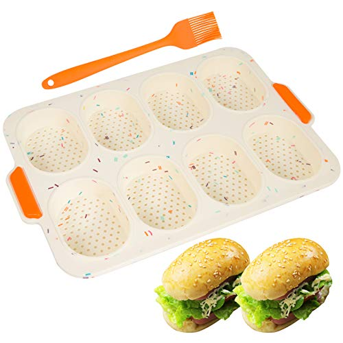 Mini Baguette Baking Tray- Silicone 8 Grids Bread Baking Pan Mold Bread Crisping Tray with Bonus Oil Brush Non-Stick French Bread Loaf Cooking Mould Plate Pan for Breadstick & Bread Rolls (White)