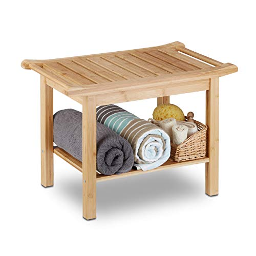 Relaxdays Badezimmer Bank Bambus, Sitzbank Bad, Ablage Badhocker Holz, HxBxT: 45 x 66 x 40 cm, Badezimmermöbel, natur