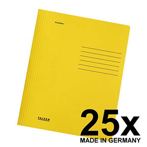 Original Falken 25er Pack Schnellhefter Intensivfarben. Made in Germany. Aus Recycling-Karton für DIN A4 kaufmännische und Behördenheftung gelb Blauer Engel Hefter ideal für Büro und Schule