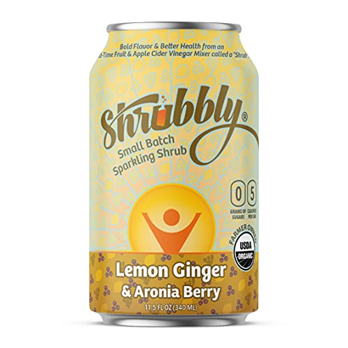 Shrubbly, Healthy Soda   Lemon Ginger + Aronia Berry   Shrub Drink + Seltzer   Apple Cider Vinegar Shot in a Delicious Alcohol-Free Sparkling Water Beverage   12 pack   11.5 oz cans