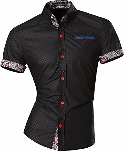jeansian Camisa De Hombre De Manga Corta Moda Men Fashion Slim Fit Casual Short Sleeves Shirts Z026 Black XL