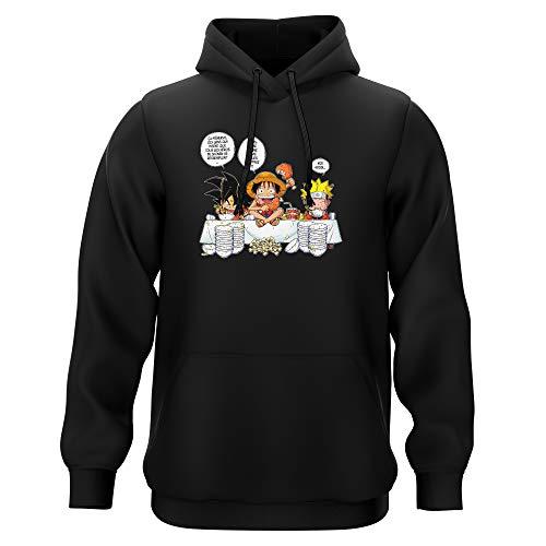 Sweat-Shirt à Capuche Noir Parodie DBZ, One Piece et Naruto - Luffy, Naruto et Sangoku - La Recette d'un Bon Shonen Manga (Super Deformed) (Sweatshirt de qualité Premium de Taille M - imprimé en FR