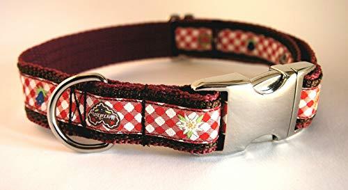 stitchbully Hundehalsband Bayern Edelweiss Tracht Oktoberfest Herzilein Lebkuchenherz Enzian rot kariert Nylon 34-50 cm 2350