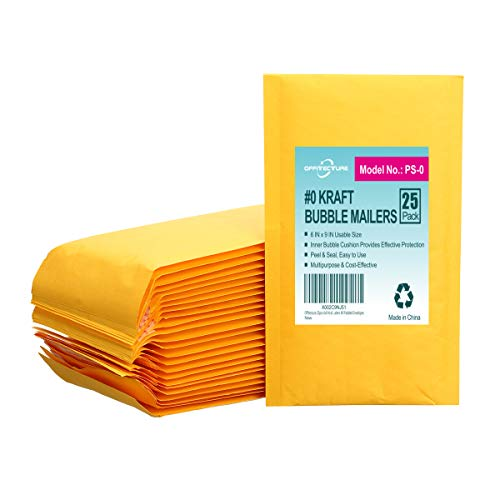 Offitecture 25pcs 6x9 Kraft Bubble Mailers #0 Padded Envelopes