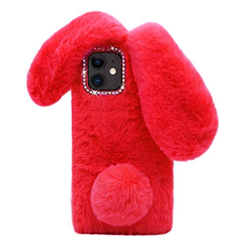 Omorro Compatible with iPhone 11 Case Plush Rabbit Case for Women Girls Soft Warm Fluffy Furry Bunny Ear Fur Phone Case Protective Bling Crystal Rhinestone Bow Knot Diamond Case Red